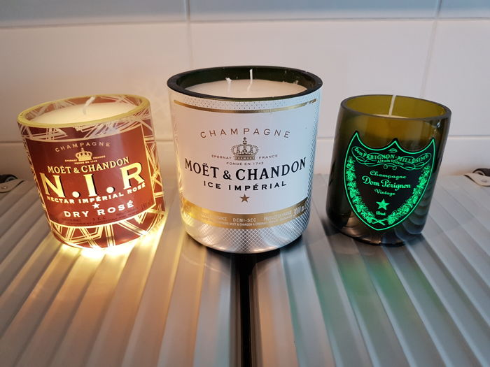 Dom Perignon / Moët et Chandon Ice and Moët et Chandon N.I.R. Rosé Luminous LED Candles soy wax - 3 items