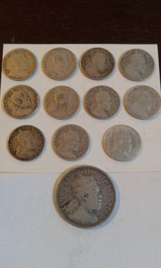 Ethiopia - 11 specimens of the 1/20 Birr 1895 (Gersh) and one of the 1/4 Birr 1895 - silver