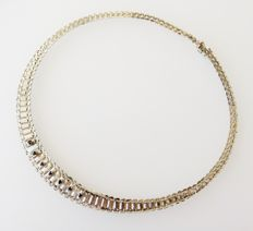 Solid 835 silver necklace with 7 genuine sapphires, totalling 0.9 ct