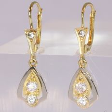 Short hanging Art Deco earrings, anno 1930, No Reserve Price