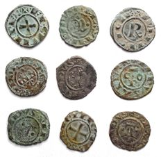 Mints of Italy - Lot of 9 coins Swabian and Aragonese, 12th Century
