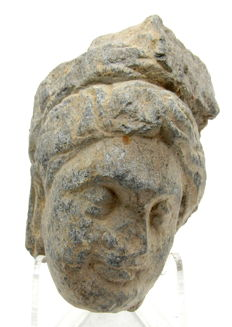 Gandhara Stone Statue of Buddha's Head - Including Stand - 70mm