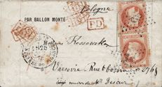 France 1870 - Manned balloon Le Vauban destined for Warsaw (very rare destination) - Yvert no 31 x 2