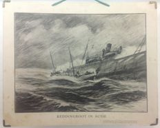"School poster ""lifeboat in action"" Edition by the N.Z.H.R.M. with an image of the Neeltje Jacoba at a rescue operation"