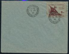 German occupation of France, St. Nazaire - 1945 - postage stamps of the Chamber of Commerce, 2 Fr. on blank letter, Michel 2