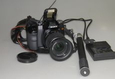 Sony A 100 with Sony 3.5/5.6-18-70 mm 2006 + chest tripod