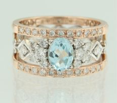14 kt bicolour gold band ring with harp motif set with centrally a blue topaz and with 34 brilliant cut diamonds, approx. 1.60 ct in total