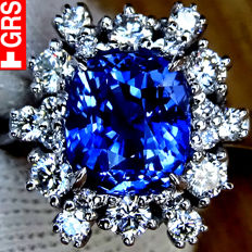 Sapphire Ring 3.10 ct Cocktail Diamond And Unheated BLUE AAA VS Sapphire Gemstone in 18 kt white gold Size 6.5 – GRS Certified – No Reserve Price