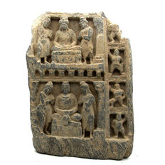 Gandhara Stone Panel with Scenes From Budha's Life  - 235 x 175 mm