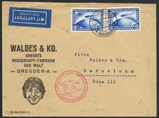 German Reich 1930 - Zeppelin Süd Amerika fahrt LZ 127 - Commercially Used Air mail cover with 2x Mi. 428 - cancelled 18 May 1930