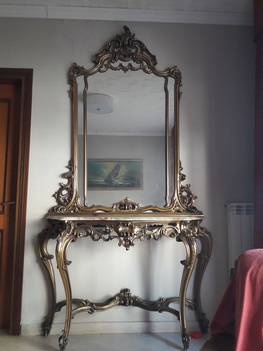 Wooden console table - Italy - early 20th century