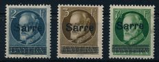 Saar region - 1920 - King Luitpold with SAAR overprint, unissued stamps 2 Pf, 3 Pf, 7 1/2 Pf Michel A31, B31, C31 Burger BPP