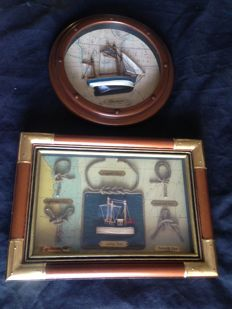 Vintage Thonier marine porthole and marine artwork in artisan wood