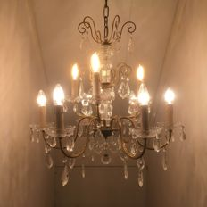 Louis XV-style, brass and glass, 9-lights chandelier, France, mid-20th century