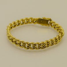 Solid gold bracelet, 585 yellow gold, 16 g, length: 19 cm, king's braid link