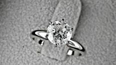 1.37 ct  SI1  round diamond ring made of 14 kt white gold - size 6