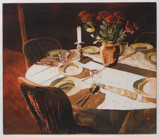 Marcel Schellekens - Covered table / candle