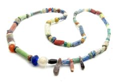 Viking Necklace with Coloured Glass & Stone Beads - WEARABLE GIFT - 400 mm