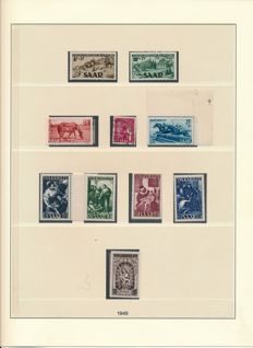 Saarland - 1947-1959 - almost complete collection with OPD Saarbrücken and official stamps on Lindner album sheets