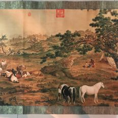 A Long scroll with horses - China - late 20th century