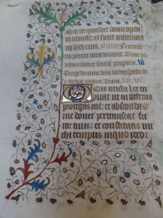Manuscript; Large leaf from a book of hours - Office of the Dead 2nd matin - lesson 5 and 6 of Job 14 - Paris - c. 1445