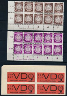 GDR of East Germany Service & ZKD – 1954 – 50 Pf and 70 Pf. A corner edge block of ten with print remark and ZKD no. 3 imperforate in a block of four, Michel 26 - 27 and 3xU