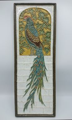 Porceleyne Fles - Cloisonné tile, pheasant with dragging tail