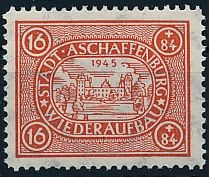 Local issues Aschaffenburg - 1946 - 'reconstruction stamp 16 + 84 Pf. perforated with watermark wavy lines, Michel III Ay with photo certificate Zierer BPP
