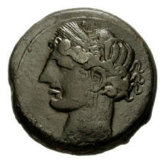 Greek Antiquity - North Africa - Carthage Mint - First Punic War 264-241 BC – Silvered Billion Double Shekel (10.45 gr, 26 mm.)