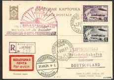 Soviet Union 1931 - Zeppelin Polarfahrt Graf Zeppelin and Ice breaker Malygin - Air mail card with Mi. 402 and 404 - signed
