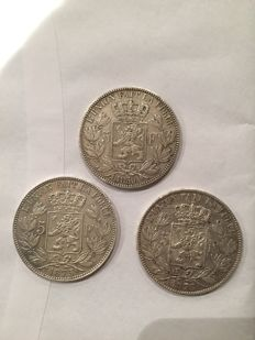 Belgium - 5 francs 1850 (double 5), 1875 and 1876 Leopold I and II - silver