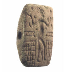 Stamp seal / gable seal, northern Levant, steatite - height = 6.6 cm