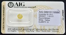 1.04 ct. AIG certified and sealed Round brilliant white – yellow diamond