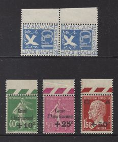 France 1929/1934 - 2 different sets - Yvert n° 253/255 and 294 in pair