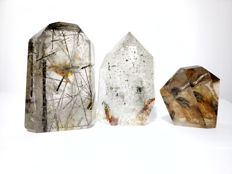 Lot with 3 quartz with inclusions from Madagascar, quartz that have been polished while keeping the sides intact - 400 g (3)