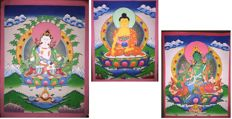 3 Hand Painted Thangka paintings, Vajrasattva, Buddha & Green Tara- Tibet/Nepal - 21st century