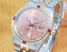 Rolex Ruby Diamond Gold & S/S Diamonds Automatic Men's Watch!
