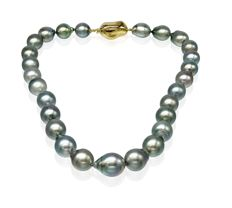 Lustrous Baroque Tahitian Pearl Necklace Featuring a Yellow Baroque Shaped Clasp - Authenticity Certificate Included