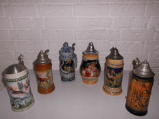Collection of 6 beautiful, large German beer mugs, special models