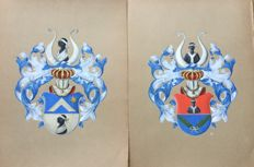 CK - Unknown (20th century) - 2 drawings of the coat of arms of a.o. the Van Heutsz family