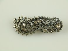 Silver brooch with 10 rose cut diamonds
