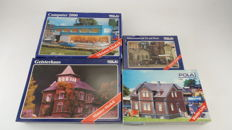"Pola Scenery H0-142/198/665/850 - 4 construction sets of the series ""Meister-Modell"" including a haunted house and computer shop"