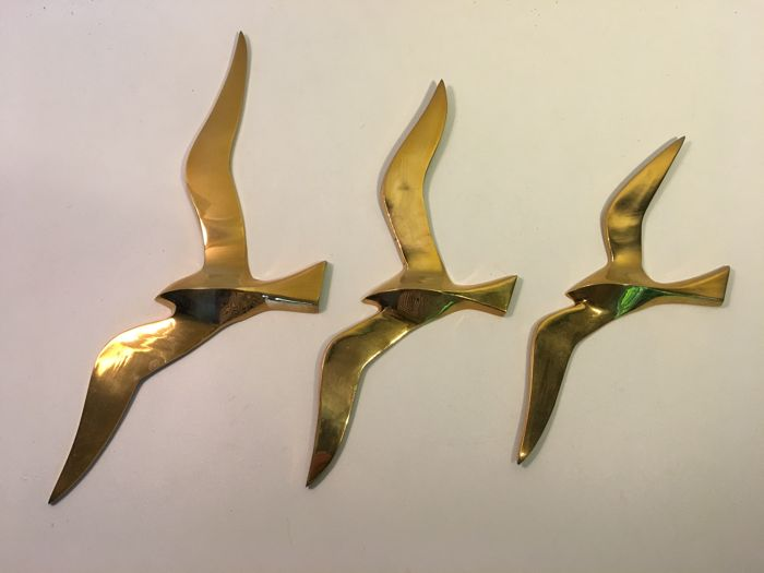 Three abstract copper design birds as a wall decoration - 2nd half of 20th century