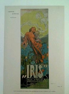 Art Nouveau - Hohenstein Adolfo: IRIS, advertising Musica di Mascagni , libretto Illica 1899 - Original chromo-lithograph print from Pluma y Lapiz