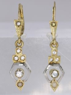 Antique, Art Deco Short Hanging Earrings with No Reserve Price - anno 1930