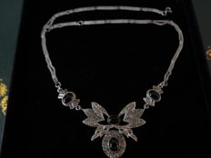 Silver necklace with onyx and marcasite 1950