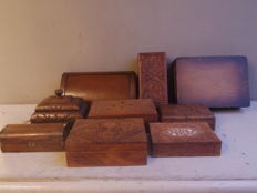 Lot of 9 wooden boxes, hand-carved boxes