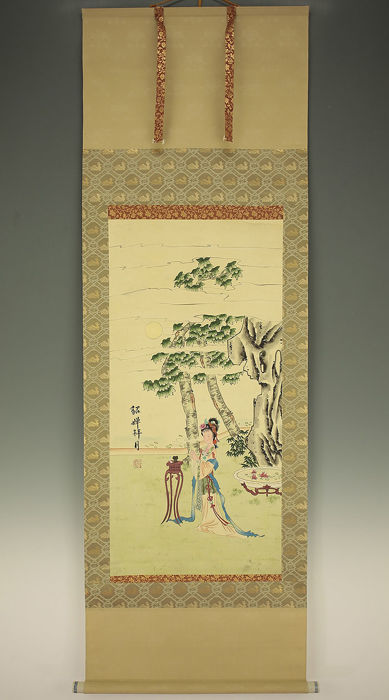 Scroll on Silk ' 貂蟬閉月  Diaochan eclipses the moon' -  China  -  2nd part 20th cent.