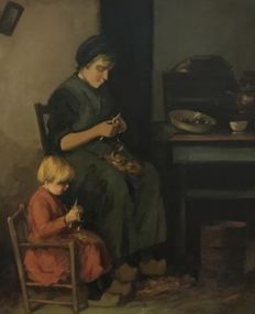 Unknown - (20th century)- Mother and child peeling potatoes