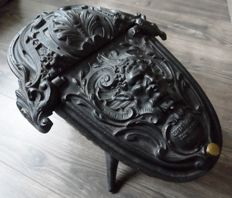 Cast iron cinder tray with image - possibly Zeus - Corneau Freres - Charleville - France - c. 1890